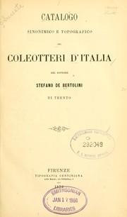 Catalogo sinonimico e topografico dei coleotteri dItalia