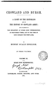 Cover of: Crowland and Burgh by Henry Scale English
