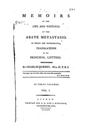 Cover of: Memoirs of the life and writings of the Abate Metastasio by Charles Burney