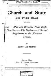 Church and State and Other Essays: Including Money; Man and Woman: Their .. by Leo Tolstoy