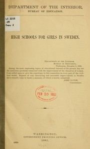 Cover of: High schools for girls in Sweden by United States. Office of Education.