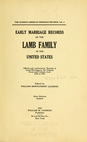 Early marriage records of the Lamb family in the United States by William Montgomery Clemens