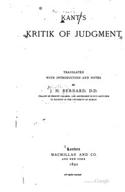 Cover of: Kant&#39;s Kritik of judgment by Immanuel Kant