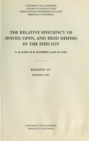 The relative efficiency of spayed, open, and bred heifers in the feed lot PDF
