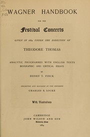 Wagner handbook for the festival concerts given in 1884 PDF