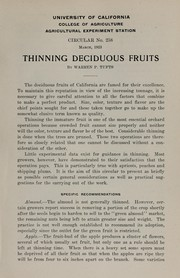 Thinning deciduous fruits by Warren P. Tufts