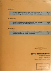 Short contributions to California geology PDF