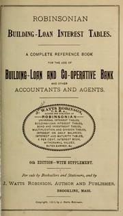 Robinsonian building-loan interest tables PDF