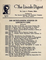 100 outstanding events in Lincoln's life by Louis Austin Warren