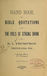 Hand book of Bible quotations on the evils of strong dring PDF