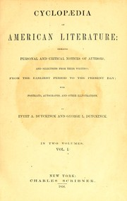 Cyclopaedia of American literature by Evert A. Duyckinck