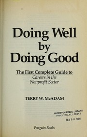 Cover of: Doing well by doing good by Terry W. McAdam