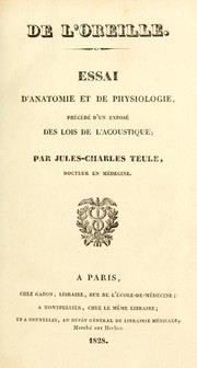 Cover of: De l'oreille by Jules Charles Teule