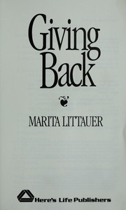 Cover of: Giving back by Marita Littauer