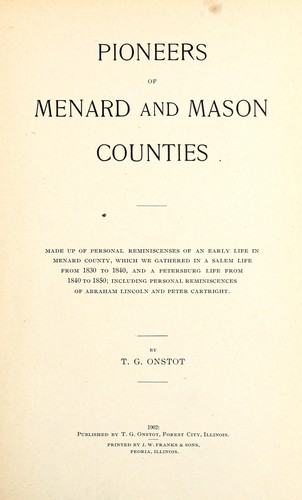 Download Pioneers of Menard and Mason Counties