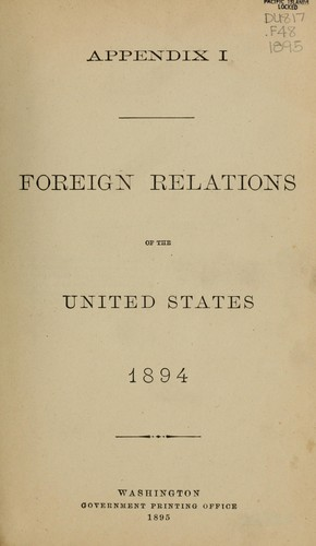 Foreign relations of the United States, 1894 by U. S. Congress