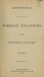 Cover of: Foreign relations of the United States, 1894 by U. S. Congress