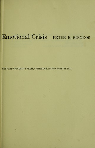 Short-term psychotherapy and emotional crisis