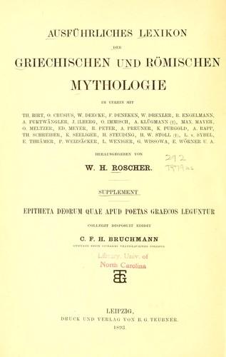 Download Ausführliches Lexikon der griechischen und römischen Mythologie.