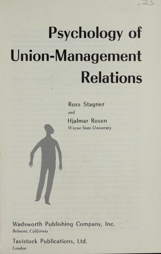 Download Psychology of union-management relations