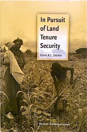 Cover of: In Pursuit of Land Tenure Security by