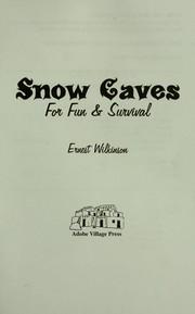 Snow caves for fun & survival PDF