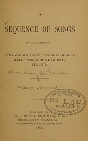 A sequence of songs by the author of The golden fence PDF