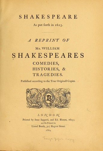 Shakespeare as put forth in 1623.