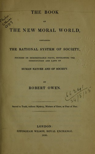 The book of the new moral world