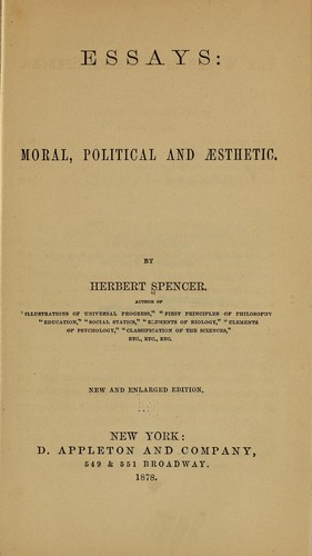 Essays: moral, political and aesthetic.