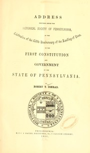 Address delivered before the Historical Society of Pennsylvania by Robert Taylor Conrad