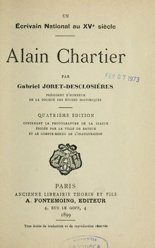 Un écrivain national au XVe siècle. Alain Chartier