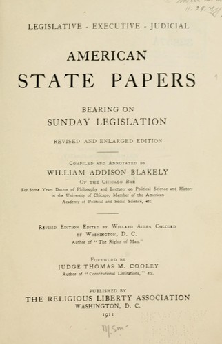 Download American state papers bearing on Sunday legislation