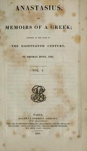 Anastasius, or, Memoirs of a Greek