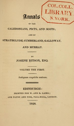 Download Annals of the Caledonians, Picts and Scots