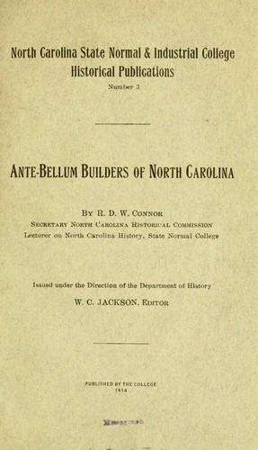 Download Ante-bellum builders of North Carolina