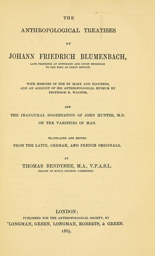 Download The anthropological treatises of Johann Friedrich Blumenbach
