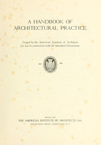 Download A handbook of architectural practice