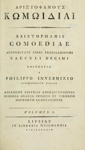 Aristophanis comoediae auctoritate libri praeclarissimi saeculi decimi