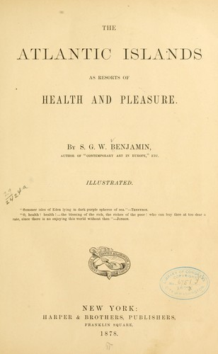 Download The Atlantic islands as resorts of health and pleasure.