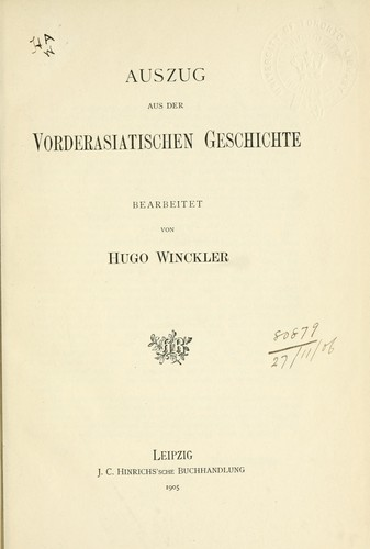Auszug aus der vorderasiatischen Geschichte.