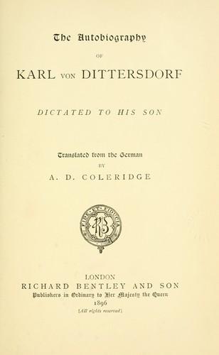The autobiography of Karl von Dittersdorf