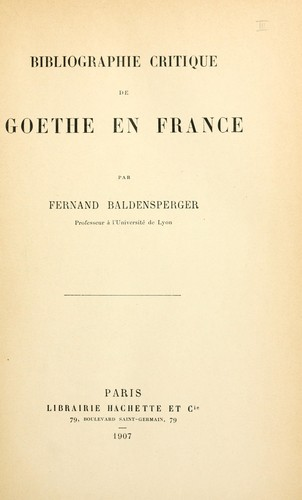 Download Bibliographie critique de Goethe en France.
