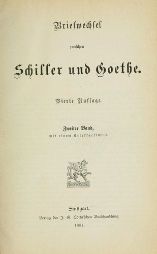 Download Briefwechsel zwischen Schiller und Goethe.