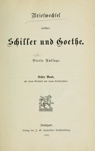 Download Der Briefwechsel zwischen Schiller und Goethe