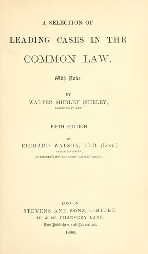Download A selection of leading cases in the common law