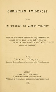 Christian evidences viewed in relation to modern thought PDF