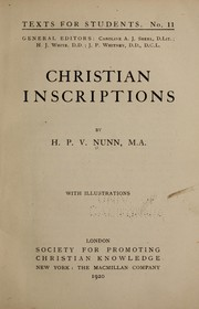 Christian inscriptions by H. P. V. Nunn