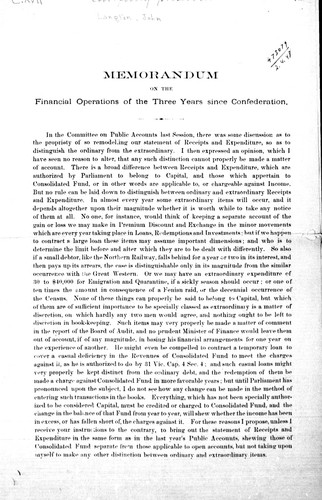 Memorandum on the financial operations of the three years since confederation