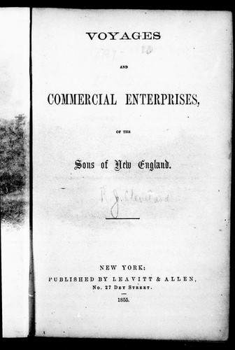 Download Voyages and commercial enterprises of the sons of New England